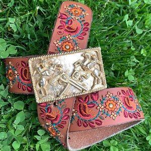LUCKY Floral Leather Belt Vintage Western Buckle